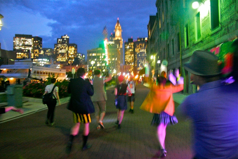 """© Julia Swanson, 2012 Everyone headed toward the city, following the, """"Disco Stick,"""" and dancing to the Beastie Boys, """"You gotta fight for your right to party."""""""