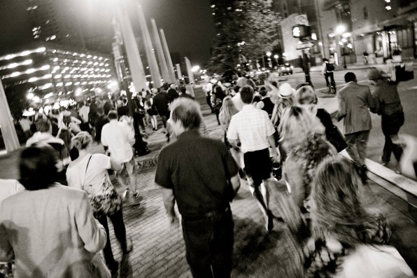 © Julia Swanson, 2012. Heading toward the Rings Fountain, in the Warf District Park on the Rose Kennedy Greenway