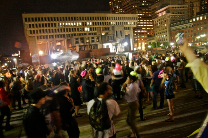 """© Julia Swanson, 2012. """"Billie Jean,"""" kept the crowd going in City Hall Plaza"""