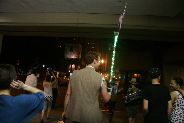 © Julia Swanson, 2012. Tom leading the way with his, Disco Stick.