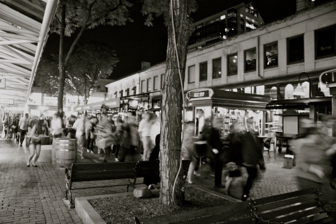 "© Julia Swanson, 2012. Dancing rings around Quincy Market to the Pointer Sister's, ""I'm so Excited."""