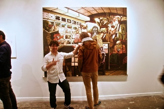 Tony Astone with his amazing 7x7 foot painting.