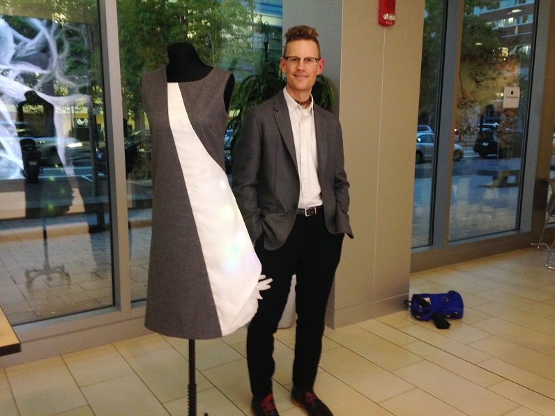 Designer Dieter Kirkwood of Team Sartorial Nanostructures. Made with a beautiful grey fabric their design incorporated LED lights in the white panel and detailing along the bottom edge.