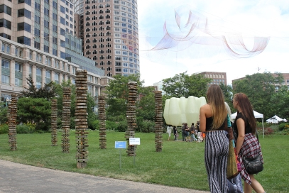 """It was really nice walking through Figment and having the Design Biennal installations as part of the experience. """"Marginal"""" by Landing Studio is in the front Left, with """"Grove"""" by GLD in the back and the Eichelman installation hanging from above."""