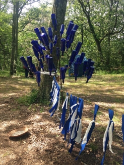 """The """"Bottle Tree"""" had lines attached to it which were decorated."""
