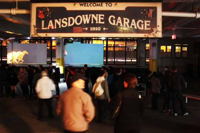The parking garage was converted into an art space with several a few large interactive video installations on one floor.