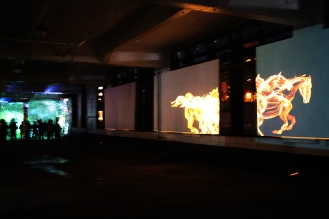 """Gallop"" by Claire Eder, was pretty epic and featured multiple screens across which galloped horses made out of flames."